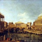 Canaletto, Il Canal Grande con il Ponte di Rialto secondo il progetto di Palladio, olio su tela, 58 x 83 cm. Parma, Galleria Nazionale