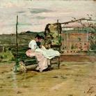 Silvestro Lega, Le cucitrici in terrazza, olio su cartone, 19x26,5 cm, 1888ca. Collezione L. Bietoletti