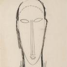 Amedeo Modigliani, Testa di fronte, 1912-1914, Matita su carta, 262 x 428 mm, Collezione privata | Courtesy of Palazzo Ducale, Genova 2017