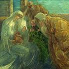 """Gaetano Previati, Adorazione dei Magi, 1890-1894, Olio su tela, 58.8 x 131 cm, Tortona, """"il Divisionismo"""" Pinacoteca Fondazione C.R. Tortona"""