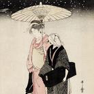 Kitagawa Utamaro, Passeggiata notturna sotto la neve, 1797-1798 circa, Silografia policroma, 38 x 26 cm, Honolulu Museum of Art | Courtesy of Palazzo Reale, Milano 2016