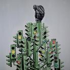 Simone Fugazzotto, THE TREE OF LIES, 100 x 100 cm, Olio su tela | Courtesy of Simone Fugazzotto e Fondazione Maimeri