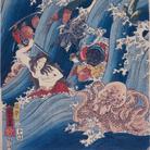 Utagawa Kuniyoshi, La principessa Tamatori ruba il sacro gioiello dal Palazzo del Drago (Ryūgū Tamatori hime no zu), 1853, Trittico di ōban, Silografia policroma (nishikie), 25.5 x 37.7 cm ciascuno, Masao Takashima Collection