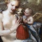 Pietro Liberi (1605 - 1687), Venere, Amore e cagnolino vestito da bambina, Olio su tela, 103 x 75 cm, Collezione privata