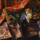 Francesco Noletti detto il Maltese, Cesto di frutta su tappeto, olio su tela, 91 x 110 cm. Collezione privata