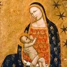 Francescuccio di Cecco Ghissi, Madonna dell'Umiltà, Seconda metà del XIV secolo, Tempera e oro su tavola, 95 x 177 cm, Iscrizione sull'aureola