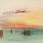 Joseph Mallord William Turner, Venice: Looking across the Lagoon at Sunset, 1840, Acquerello su carta, 304 x 244 mm, Tate, Accepted by the nation as part of the Turner Bequest 1856 | Courtesy of Chiostro del Bramante 2018