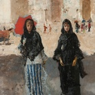 Mosè Bianchi, Uscita di chiesa, olio su tela, 83 x 64 cm