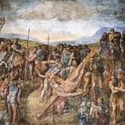 Michelangelo Buonarroti, Crocifissione di San Pietro, 1545-1550. Affresco, cm 625 x 662. Cappella Paolina, Vaticano.