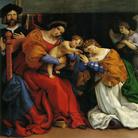 Lorenzo Lotto, Il Matrimonio Mistico di Santa Caterina, 1523, Olio su tela, 134 × 139 cm, Accademia di Carrara