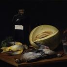 Tomás López Enguídanos (1773 - 1814), Natura morta con Uccelli, Melone e Bottiglia di Vino Peralta, 1807, RABASF Madrid