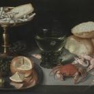 Peter Binoit (1590 - 1632), Natura morta con frutta, dolci, crostacei, un bicchiere e un topo, Musei Reali Torino