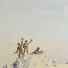 Napoleone Cozzi, Dal taccuino Piccola Cima de Lavaredo, Pag. 20, 1898, Acquerello su carta, Trieste, Società Alpina delle Giulie Sezione di Trieste del C.A.I