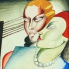 Tamara de Lempicka, Deux amies, 1924 ca. Acquerello su carta, 10,5x9,8 cm. Collection privèe © Tamara Art Heritage. Licensed by MMI NYC/ ADAGP Paris/ SIAE Roma 2015