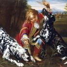 Niccolò Cassana (1659 - 1714), Bambino che gioca con due setter inglesi, Olio su tela, 98 x 133 cm, Collezione privata
