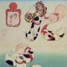 Utagawa Kuniyoshi, Polipo (tako), Serie: Caratteri calligrafici formati da gatti (Neko no ateji), Circa 1842, Silografia policroma (nishikie), 24.6 x 36.1 cm, Masao Takashima Collection