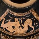 Eracle atterra il leone di Nemea, Idria attica a figure rosse attribuita al Gruppo dei Pionieri, 510 a.C. circa, Altezza 40.5 cm, Antikenmuseum Basel und Sammlung Ludwig