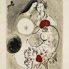 Marc Chagall, Coppia di amanti con gallo, 1951. Litografia a colori, cm 95,4 x 64,7. Dono di Ida Chagall, Parigi © Chagall ® by SIAE 2015