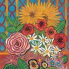 Antonio Ligabue, Tavolo con vaso di fiori, 1956, Olio su tavola di faesite, 70 x 35 cm