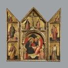UNO:UNO A tu per tu con l'opera - Incoronazione della Vergine, Annunciazione, Crocifissione e Santi. Pittore Veneziano, trittico del XIV secolo