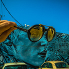 StarFighterA, SHADES OF BLUE, Art District, Los Angeles, Portrait of Scarlet Johansson on a wall in the Art District by StarFighterA, This mural still exists | Photo © Vonjako