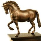 Leonardo da Vinci in collaborazione con G. F. Rustici (attr.), Cavallo al passo, 1508 - 1511. Bronzo, h 156 mm x l 185 mm. Collezione privata