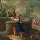 Antonio Rossi (Bologna 1700-1753), Bertoldino getta le monete nel pozzo, 1740-1750 circa, Olio su tela, 94 x 69 cm, Provenienza: Casa d'aste Wannenes, Genova, 2014