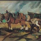 Antonio Ligabue, Il carrettiere, olio su tavola di compensato, 1932-1933, 32x47 cm