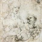 Leonardo Da Vinci, Studio per Madonna del gatto. Penna su carta preparata grigio-rosa, 126 x 109 mm. Firenze, Gabinetto Disegni e Stampe degli Uffizi - Soprintendenza Speciale per il Polo Museale Fiorentino