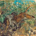 Antonio Ligabue, Leopardo con antiope e indigeno, pastello a cera, matita e china su carta, 1939-1952, 48x65,5 cm