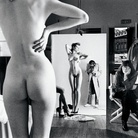 Helmut Newton, Self-Portrait with Wife and Models, Vogue Studio, Paris 1981 | © Helmut Newton Estate