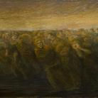 Gaetano Previati, Gli orrori della guerra, L'esodo, 1917. Olio su tela, 585x790mm.