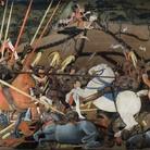 Paolo Uccello, Battaglia di San Romano (Disarcionamento di Bernardino della Ciarda, part.), 1438. Tecnica mista su tavola, cm 182×323. Galleria degli Uffizi, Firenze