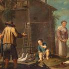 Antonio Rossi (Bologna 1700 - 1753), Bertoldino cova le uova, 1740-1750 circa, Olio su tela, 94 x 69 cm, Provenienza: Casa d'aste Wannenes, Genova, 2014