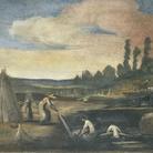 Guercino e collaboratori, Estrazione della canapa dal macero, 1615, Affresco, Cento, Pinacoteca Civica