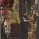 Donato Creti, (Cremona 1671 - Bologna 1749), L'elemosina di San Gregorio Magno, 1693 circa, Olio su tela, 95.5 x 128 cm, Provenienza: Collezione privata, Modena, 2014