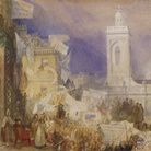 Joseph Mallord William Turner, The Northampton Election, 6 December 1830, 1830-31, Acquerello, guazzo e inchiostro su carta, 438 x 292 mm, Tate: Purchased 2007 | Courtesy of Chiostro del Bramante 2018