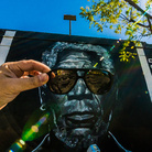 Brad Robson, MORGAN, Morgan Freeman portrait painted on the wall of the Los Feliz Theater Cinema in Los Angeles by Brad Robson, This mural still exists | Photo © Vonjako