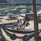 Max Beckmann, Marina a Noordwijk (Cavaliere sulla spiaggia), 1946, Olio su tela, 87.5 x 55 cm, Buchheim Museum der Phantasie, Bernried am Starnberger See | © 2018, ProLitteris, Zurich