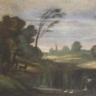 Giovanni Francesco Barbieri, detto il Guercino (Cento, 1591 - Bologna, 1666), Paesaggio con cacciatore che spara alle anatre, 1615, Affresco, Cento, Pinacoteca Civica