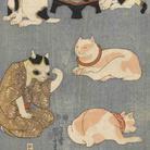 Utagawa Kuniyoshi, Proverbi illustrati [con i gatti] (Tatoe zukushi no uchi), 1852, Silografia policroma (nishikie), 24.4 x 35.2; 24.6 x 35.2; 24.5 x 35.3 cm ciascuno, Masao Takashima Collection