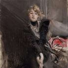 Giovanni Boldini, L'attrice Jeanne Renouardt. Olio su tavola, 35 x 27 cm