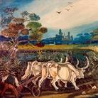 Antonio Ligabue, Aratura con buoi, 1950-55, olio su faesite, 56 x 66 cm.