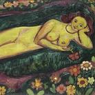 Cuno Amiet, Nudo femminile sdraiato con fiori (Liegender Frauenakt mit Blumen), 1912, Olio su tela, 160.5 x 100 cm, Kunstmuseum Bern, Legat Eduard Gerber, Bern