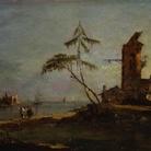 Compiègne, Musée National du Palais | Francesco Guardi, Vista della foce di un canale, Olio su tavola, 26 x 17 cm, Amiens, Musée de Picardie