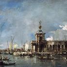 Francesco Guardi, Punta della Dogana, olio su tela, 33 x 52 cm. Collezione privata