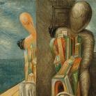 Museo del Novecento | Giorgio de Chirico, Manichini in riva al mare, 1926, Olio su tela, Collezione Intesa Sanpaolo. Il tema del manichino, divenuto archeologo o filosofo, è centrale nell'opera dell'artista a metà anni Venti, quando la sua pittura conosce un primo importante interesse negli Stati Uniti.