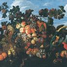 Abraham Brueghel, Grande natura morta di frutta in un paesaggio, 1670, Olio su tela, 136.5x97 cm, Collezione privata