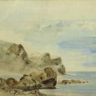 Eugène Delacroix, Falesie a Dieppe, 1834 circa, Acquerello su carta, 16.8 x 12.8 cm, Collection Association Peindre en Normandie, Caen