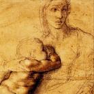 Michelangelo Buonarroti, Madonna col Bambino, 1525 circa. Matita e inchiostro su carta, cm 54,1 x 39,6. Casa Buonarroti, Firenze